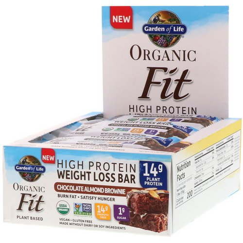 Garden of Life, Organic Fit, High Protein Weight Loss Bar, Chocolate Almond Brownie, 12 Bars, 1.9 oz (55 g) Each فوائد