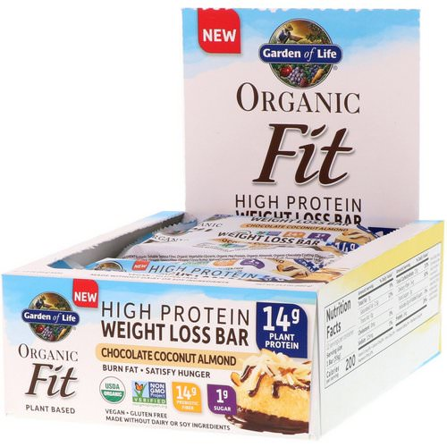 Garden of Life, Organic Fit, High Protein Weight Loss Bar, Chocolate Coconut Almond, 12 Bars, 1.9 oz (55 g) Each فوائد