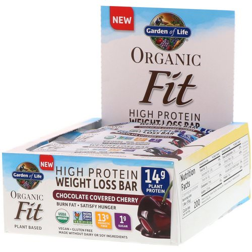 Garden of Life, Organic Fit, High Protein Weight Loss Bar, Chocolate Covered Cherry, 12 Bars, 1.9 oz (55 g) Each فوائد