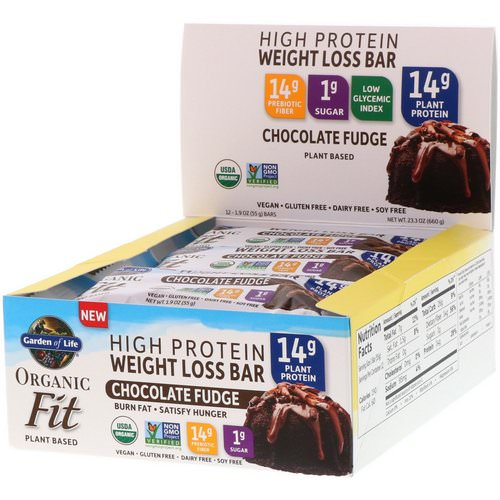 Garden of Life, Organic Fit, High Protein Weight Loss Bar, Chocolate Fudge, 12 Bars, 1.9 oz (55 g) Each فوائد