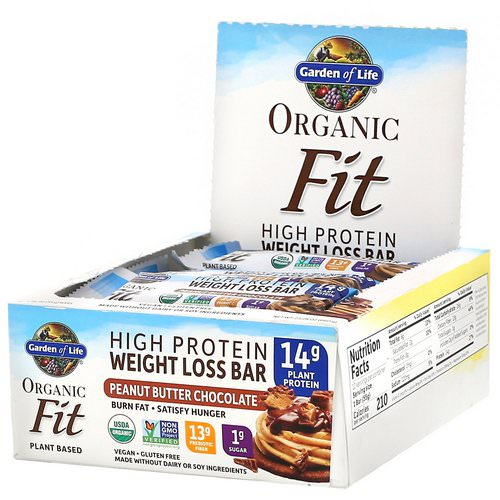 Garden of Life, Organic Fit, High Protein Weight Loss Bar, Peanut Butter Chocolate, 12 Bars, 1.94 oz (55 g) Each فوائد
