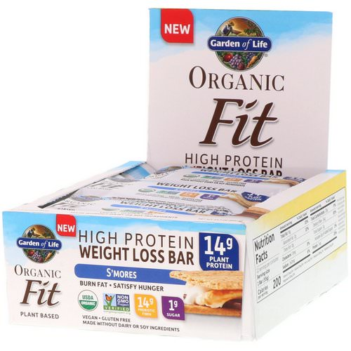 Garden of Life, Organic Fit, High Protein Weight Loss Bar, S'mores, 12 Bars, 1.9 oz (55 g) Each فوائد