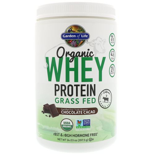Garden of Life, Organic Whey Protein Grass Fed, Chocolate Cacao, 14.03 oz (397.5 g) فوائد
