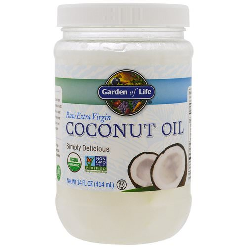 Garden of Life, Raw Extra Virgin Coconut Oil, 14 fl oz (414 ml) فوائد