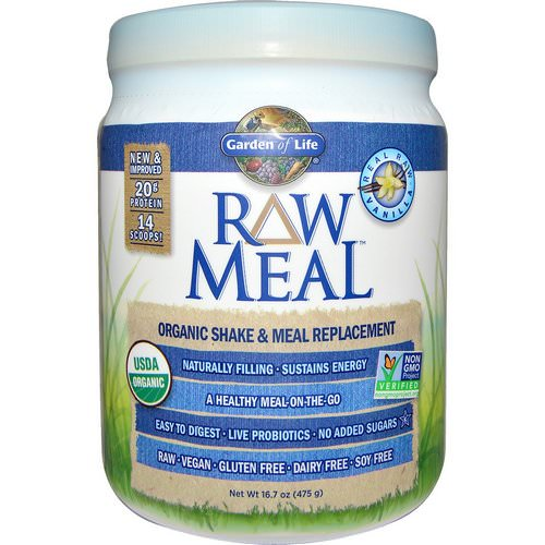 Garden of Life, RAW Organic Meal, Organic Shake & Meal Replacement, Vanilla, 16.7 oz (475 g) فوائد
