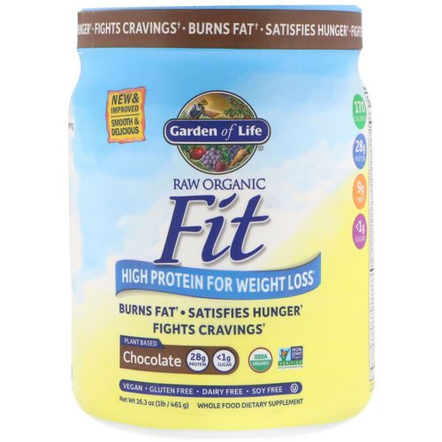 Garden of Life, RAW Organic Fit, High Protein for Weight Loss, Chocolate, 16.3 oz (461 g) فوائد