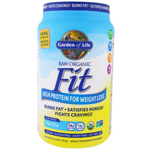 Garden of Life, Raw Organic Fit, High Protein For Weight Loss, Vanilla, 2 lbs (913 g) فوائد
