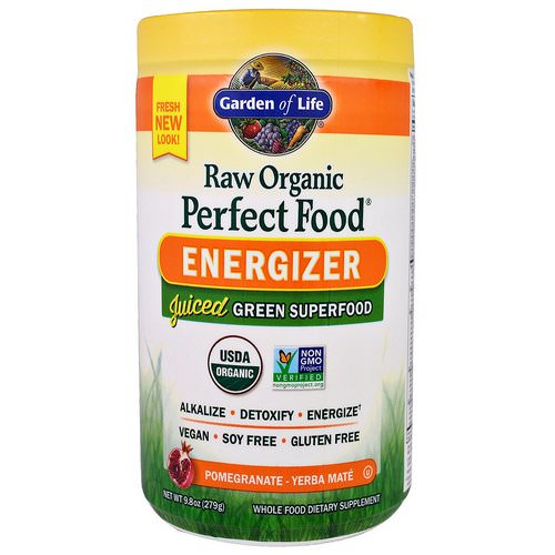Garden of Life, Raw Organic Perfect Food, Energizer, Pomegranate - Yerba Mate, 9.8 oz (279 g) فوائد