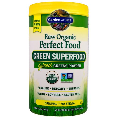 Garden of Life, Raw Organic Perfect Food, Green Superfood, Original, 7.4 oz (209 g) فوائد