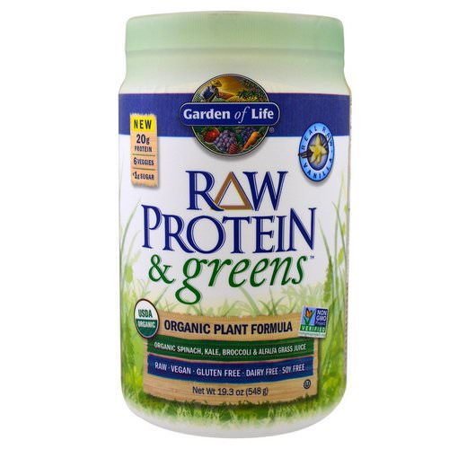 Garden of Life, Raw Protein & Greens, Organic Plant Formula, Real Raw Vanilla, 19.3 oz (548 g) فوائد