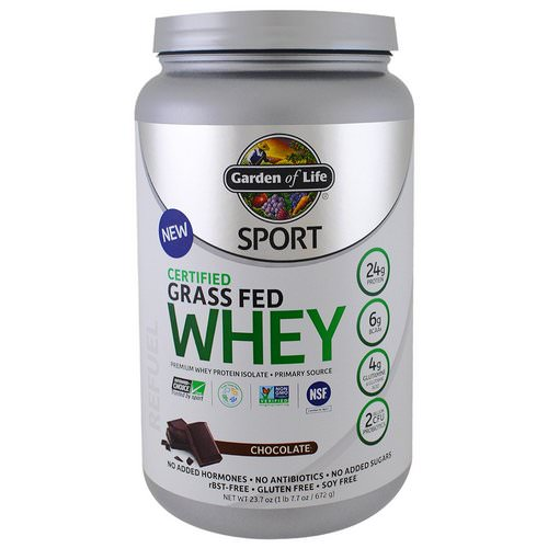 Garden of Life, Sport, Certified Grass Fed Whey, Chocolate, 1.48 lbs (672 g) فوائد