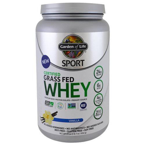 Garden of Life, Sport, Certified Grass Fed Whey Protein, Vanilla, 1.4 lbs (652 g) فوائد