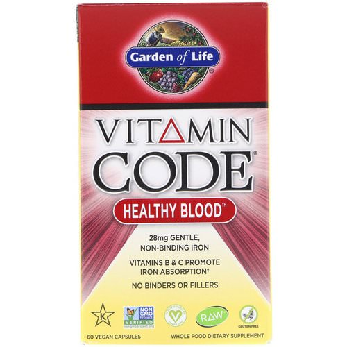 Garden of Life, Vitamin Code, Healthy Blood, 60 Vegan Capsules فوائد