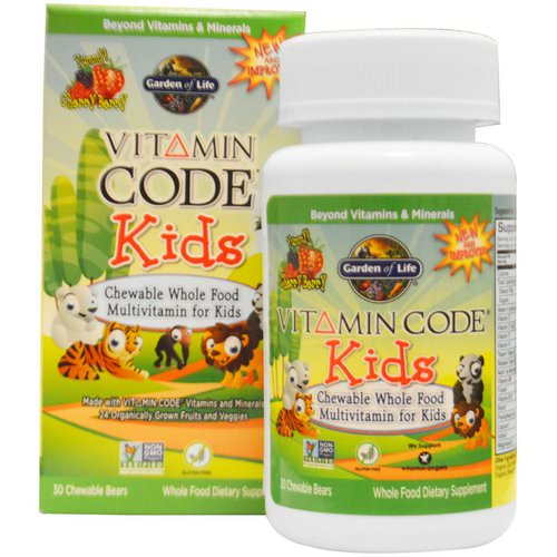 Garden of Life, Vitamin Code, Kids, Chewable Whole Food Multivitamin for Kids, Cherry Berry, 30 Chewable Bears فوائد