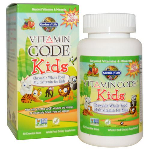 Garden of Life, Vitamin Code, Kids, Chewable Whole Food Multivitamin for Kids, Cherry Berry, 60 Chewable Bears فوائد