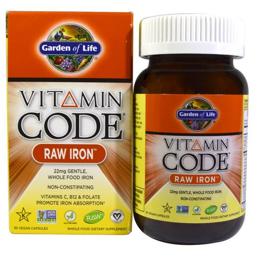 Garden of Life, Vitamin Code, RAW Iron, 30 Vegan Caps فوائد
