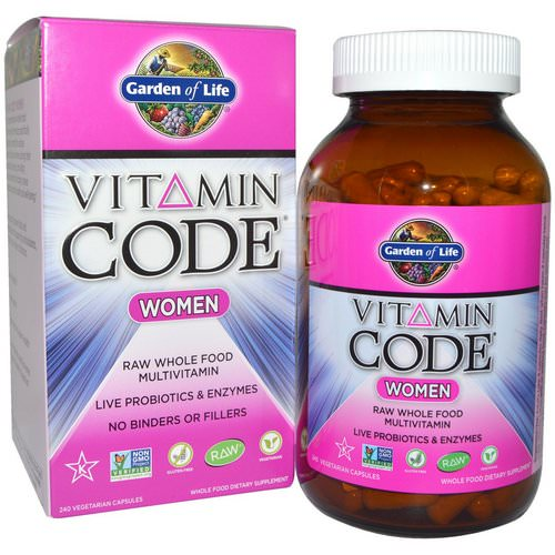 Garden of Life, Vitamin Code, Women, Raw Whole Food Multivitamin, 240 Veggie Caps فوائد