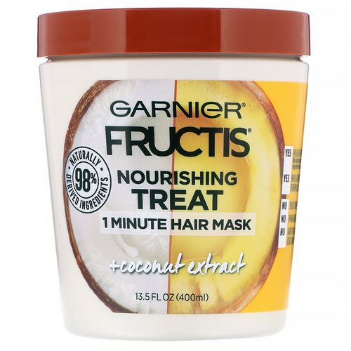 Garnier, Fructis, Nourishing Treat, 1 Minute Hair Mask, + Coconut Extract, 13.5 fl oz (400 ml) فوائد