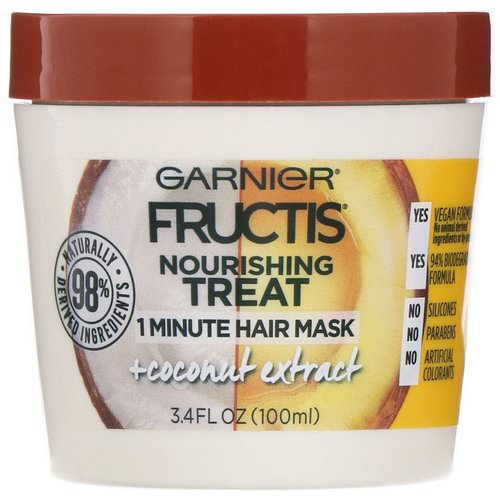 Garnier, Fructis, Nourishing Treat, 1 Minute Hair Mask + Coconut Extract, 3.4 fl oz (100 ml) فوائد