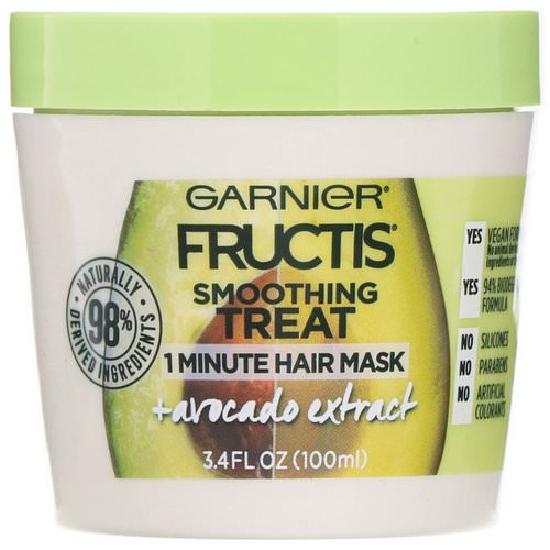 Garnier, Fructis, Smoothing Treat, 1 Minute Hair Mask + Avocado Extract, 3.4 fl oz (100 ml) فوائد