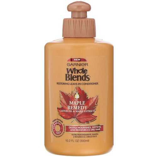 Garnier, Whole Blends, Restoring Leave-In Conditioner, Maple Remedy, 10.2 fl oz (300 ml) فوائد