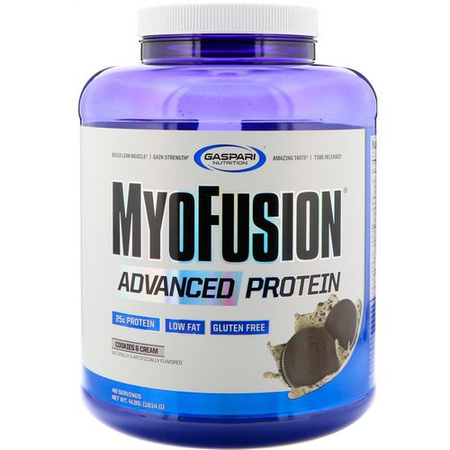 Gaspari Nutrition, MyoFusion, Advanced Protein, Cookies & Cream, 4 lbs (1814 g) فوائد