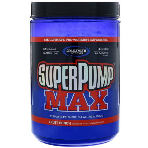 Gaspari Nutrition, SuperPump Max, The Ultimate Pre-Workout Supplement, Fruit Punch Blast, 1.41 lbs (640 g) فوائد