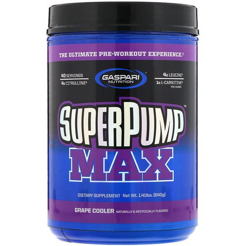 Gaspari Nutrition, SuperPump Max, The Ultimate Pre-Workout Supplement, Grape Cooler, 1.41 lbs (640 g) فوائد