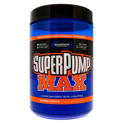 Gaspari Nutrition, SuperPump Max, The Ultimate Pre-Workout Supplement, Refreshing Orange, 1.41 lbs (640 g) فوائد