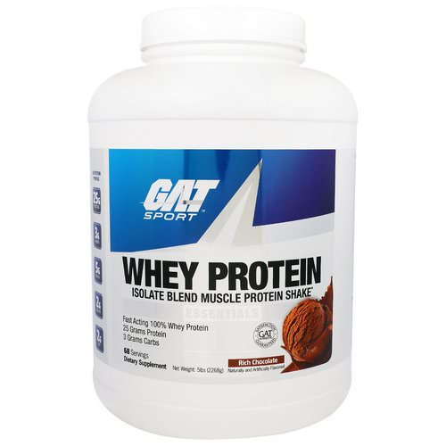 GAT, Whey Protein, Isolate Blend Muscle Protein Shake, Essentials, Rich Chocolate, 5 lbs (2268 g) فوائد