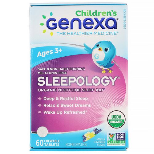 Genexa, Children's Sleepology, Organic Nighttime Sleep Aid, Ages 3+, Vanilla Lavender Flavor, 60 Chewable Tablets فوائد
