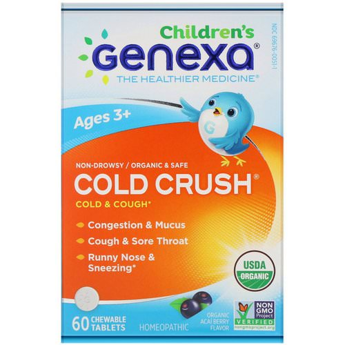 Genexa, Cold Crush for Children, Age 3+, Cold & Cough, Organic Acai Berry Flavor, 60 Chewable Tablets فوائد
