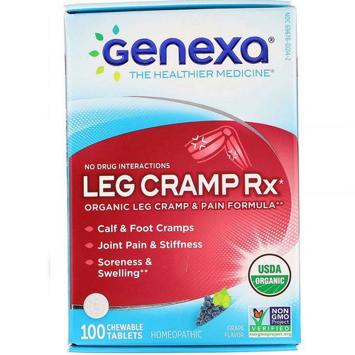 Genexa, Leg Cramp Rx, Organic Leg Cramp & Pain Formula, Grape Flavor, 100 Chewable Tablets فوائد