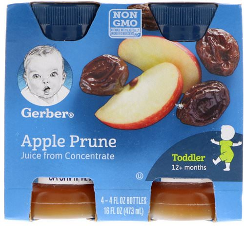 Gerber, Apple Prune Juice, Toddler, 12+ Months, 4 Pack, 16 fl oz (473 ml) فوائد