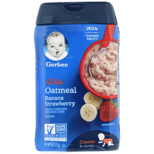 Gerber, Lil' Bits, Oatmeal Cereal, Crawler, 8+ Months, Banana Strawberry, 8 oz (227 g) فوائد