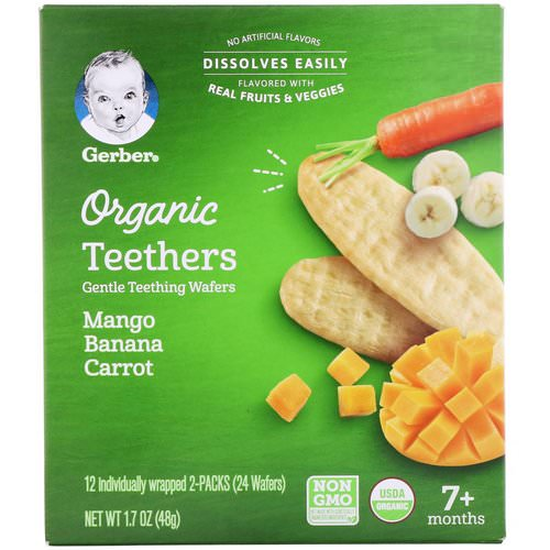Gerber, Organic Teethers, Gentle Teething Wafers, 7+ Months, Mango Banana Carrot, 24 Wafers, 1.7 oz (48 g) فوائد