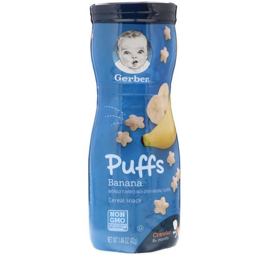Gerber, Puffs Cereal Snack, Crawler, 8+ Months, Banana, 1.48 oz (42 g) فوائد