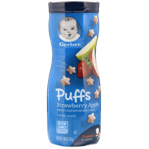 Gerber, Puffs Cereal Snack, Crawler, 8+ Months, Strawberry Apple, 1.48 oz (42 g) فوائد