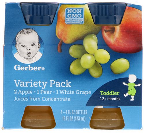 Gerber, Variety Juice Pack, Toddler, 12+ Months, 4 Pack, 4 fl oz (118 ml) Each فوائد