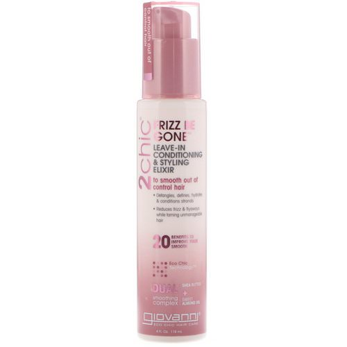 Giovanni, 2chic, Frizz Be Gone, Leave-In Conditioning & Styling Elixir, Shea Butter + Sweet Almond Oil, 4 fl oz (118 ml) فوائد