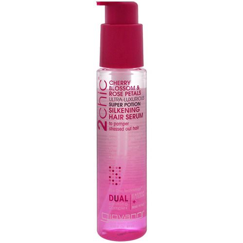Giovanni, 2chic, Ultra-Luxurious Super Potion Silkening Hair Serum, Cherry Blossom & Rose Petals, 2.75 fl oz (81 ml) فوائد