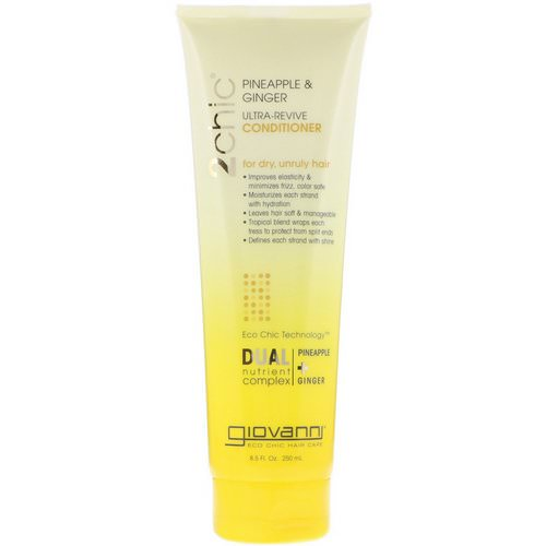 Giovanni, 2chic, Ultra-Revive Conditioner, for Dry, Unruly Hair, Pineapple & Ginger, 8.5 fl oz (250 ml) فوائد