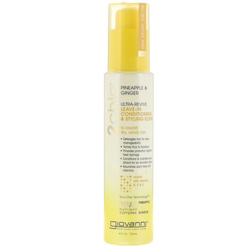 Giovanni, 2chic, Ultra-Revive Leave-In Conditioning & Styling Elixir, Pineapple & Ginger, 4 fl oz (118 ml) فوائد