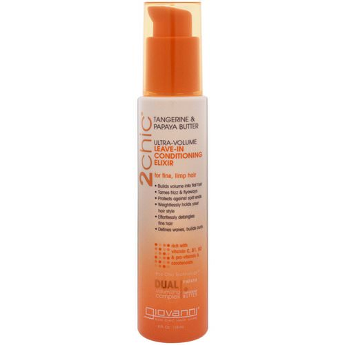 Giovanni, 2chic, Ultra-Volume Leave-In Conditioning Elixir, for Fine, Limp Hair, Tangerine & Papaya Butter, 4 fl oz (118 ml) فوائد