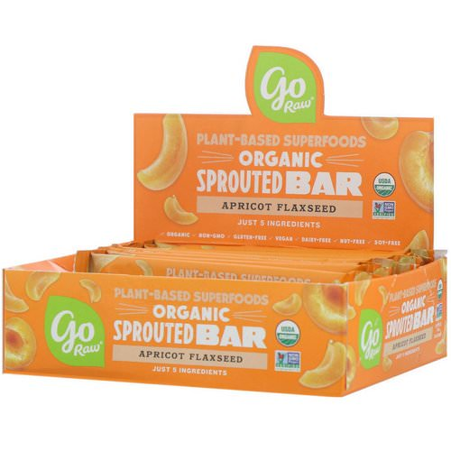 Go Raw, Organic Sprouted Bar, Apricot Flaxseed, 10 Bars, 0.4 oz (11 g) Each فوائد