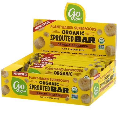 Go Raw, Organic Sprouted Bar, Banana Flaxseed, 10 Bars, 0.4 oz (11 g) Each فوائد
