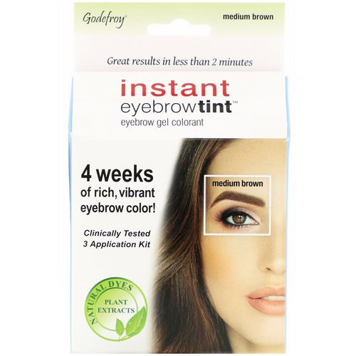 Godefroy, Instant Eyebrow Tint, Medium Brown, 3 Application Kit فوائد