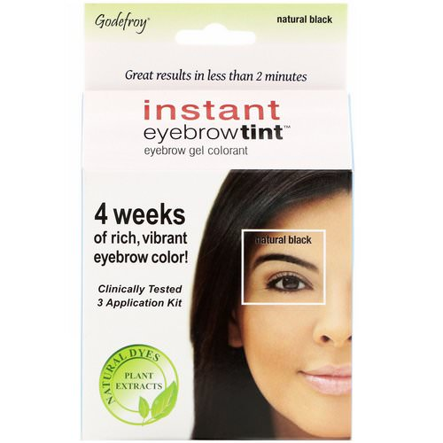 Godefroy, Instant Eyebrow Tint, Natural Black, 3 Application Kit فوائد