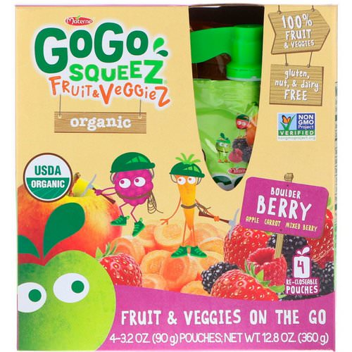 GoGo SqueeZ, Organic Fruit and VeggieZ, Boulder Berry, 4 Pouches, 3.2 oz (90 g) Each فوائد