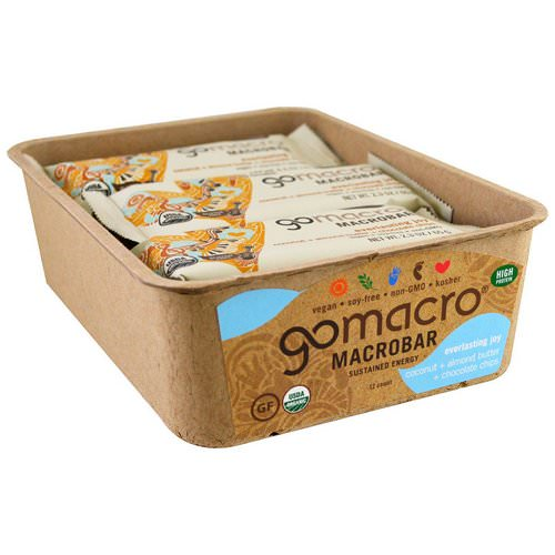 GoMacro, Macrobar, Everlasting Joy, Coconut + Almond Butter + Chocolate Chips, 12 Bars, 2.3 oz (65 g) Each فوائد